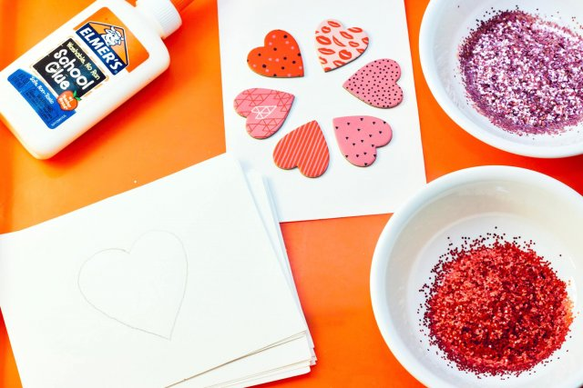 Material for heart glitter card