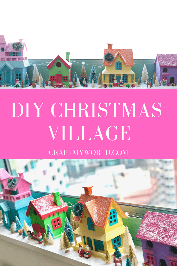 Colorful Christmas village for small spaces placed on windowsill