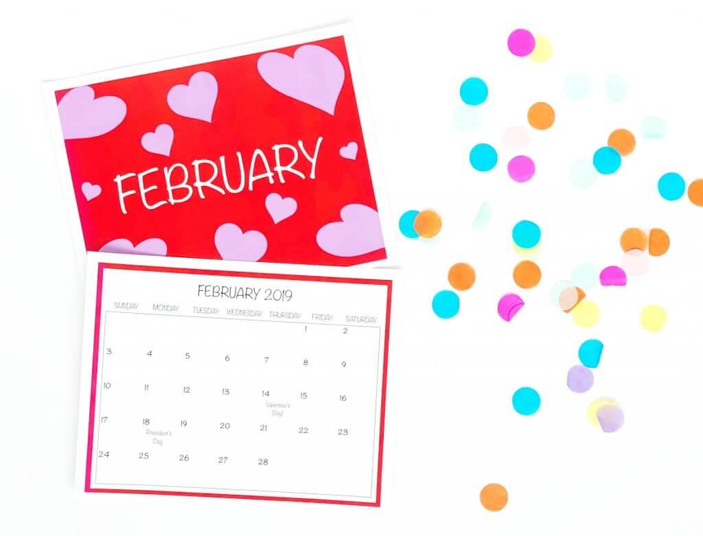 Free printable 2019 February wall calendar