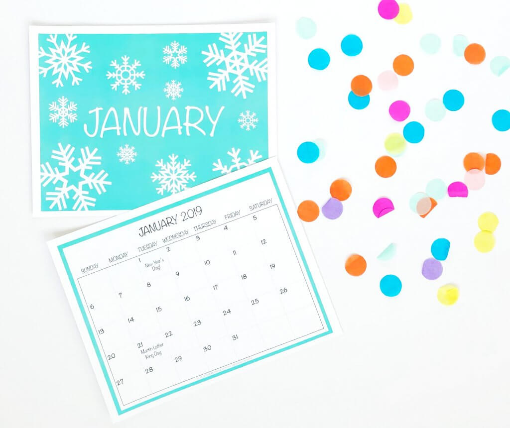 Free printable 2019 January wall Calendar