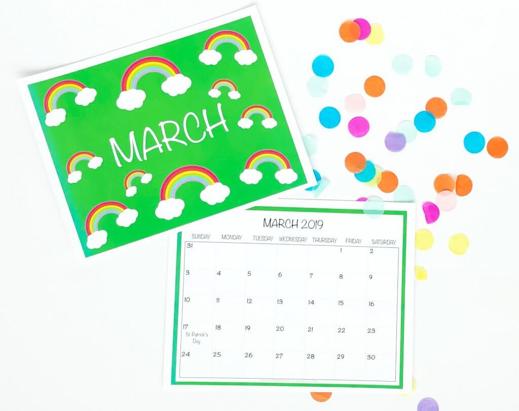 Free printable 2019 March wall Calendar