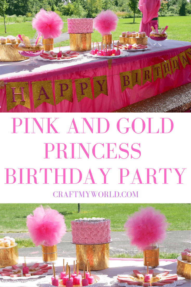 Pink and Gold princess birthday party outdoor