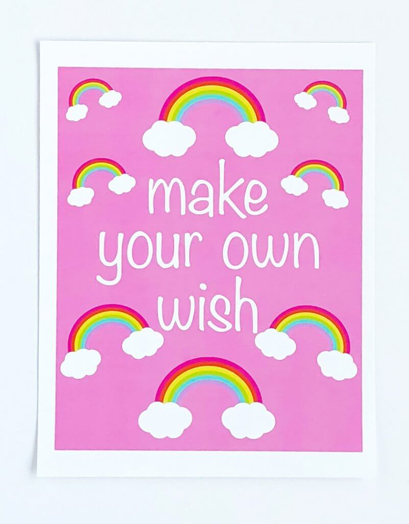Rainbow Art print with pink backdrop