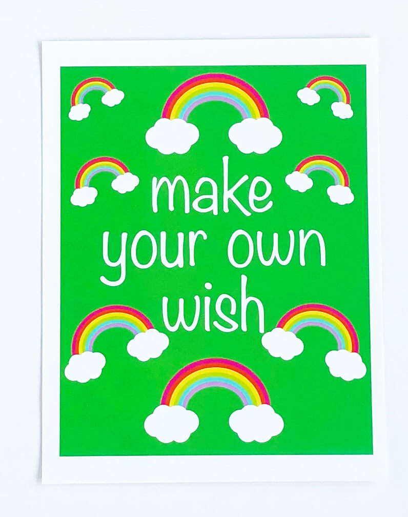 St patrick's day with rainbows art print