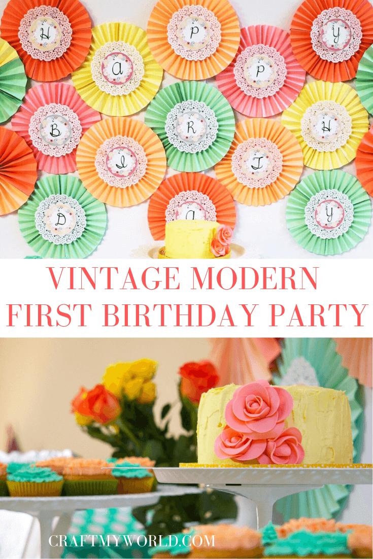 Vintage modern first birthday party