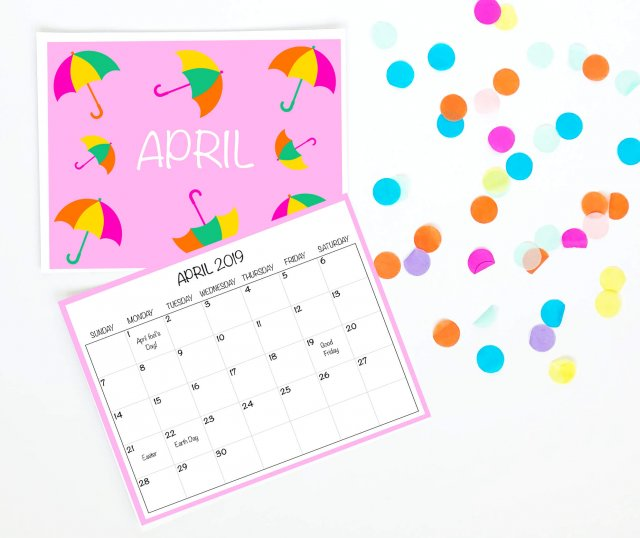 2019 April wall calendar free printable