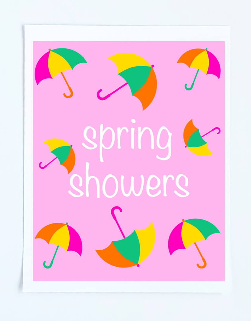 Free printable Spring art print with umbrellas