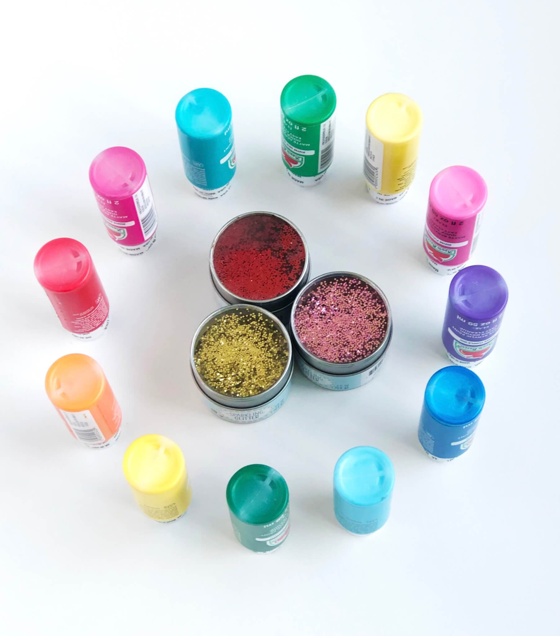 Craft supply with Acrylic craft paint and glitter