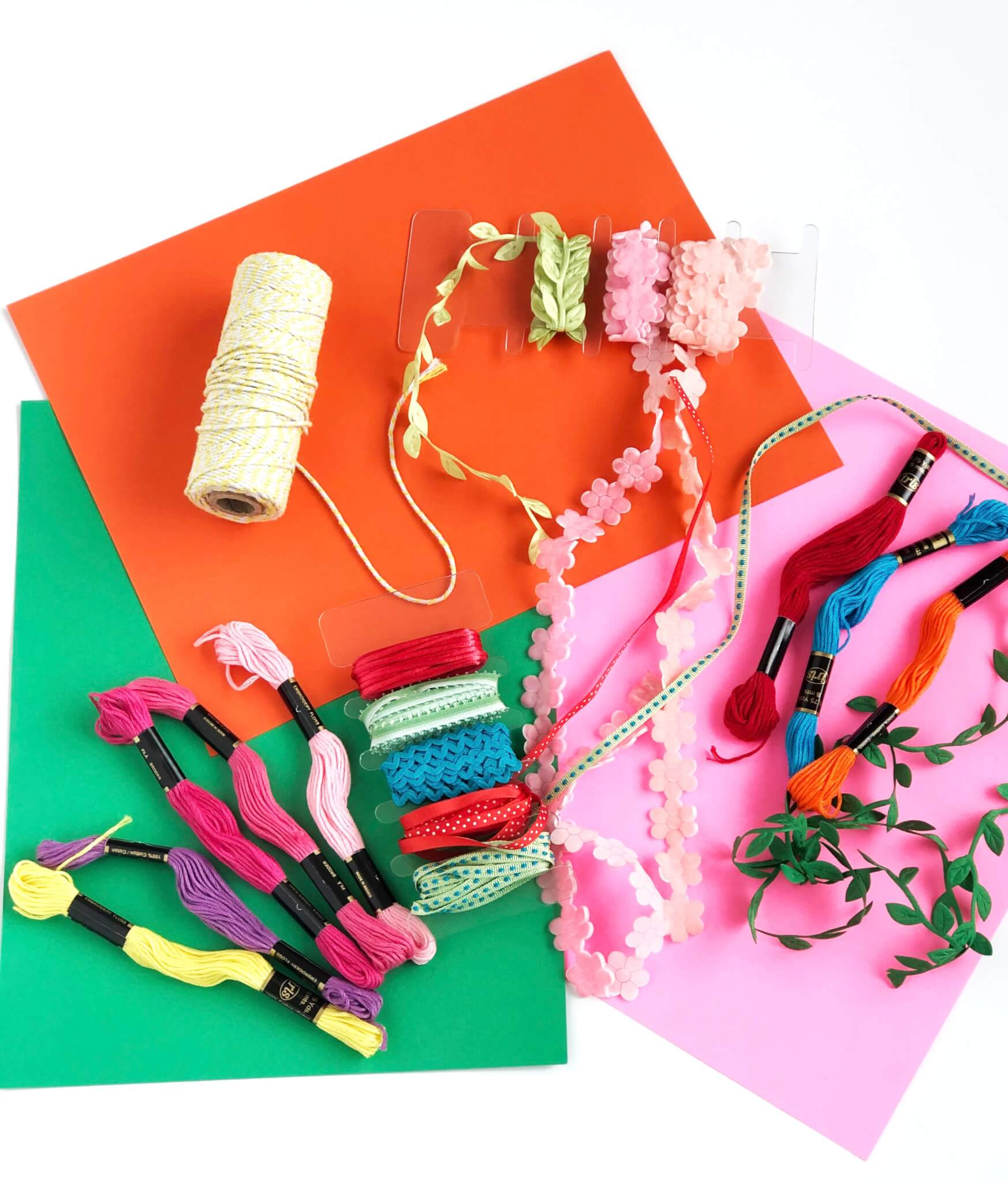 Craft supply with baker's twine, ribbons and embroidery thread