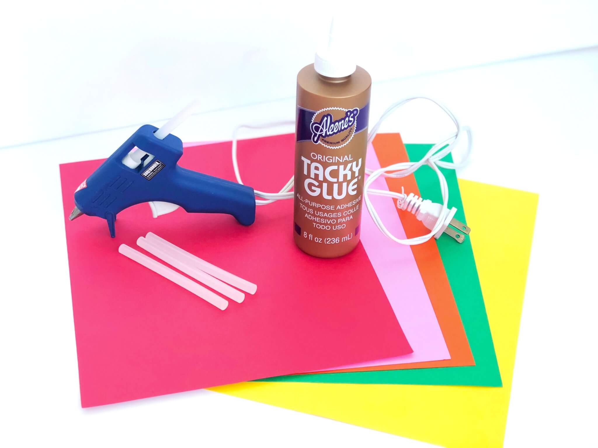 Craft supply list with Glue gun and Tacky glue
