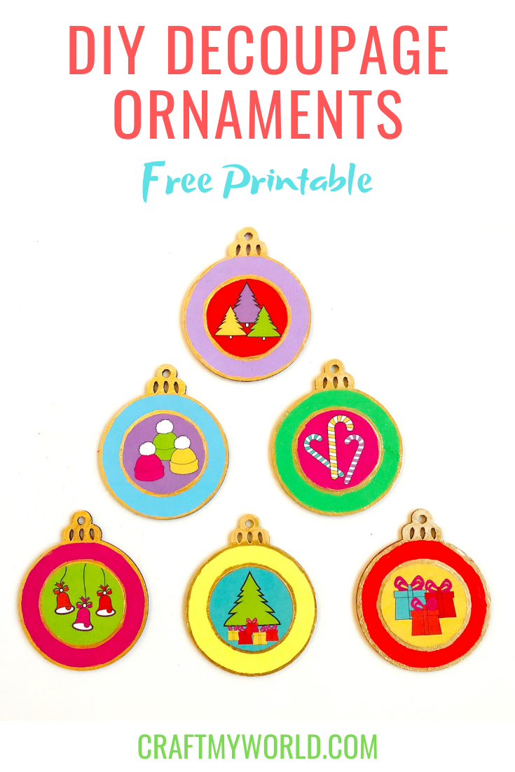 DIY decoupage ornaments in rainbow colors with Free printable