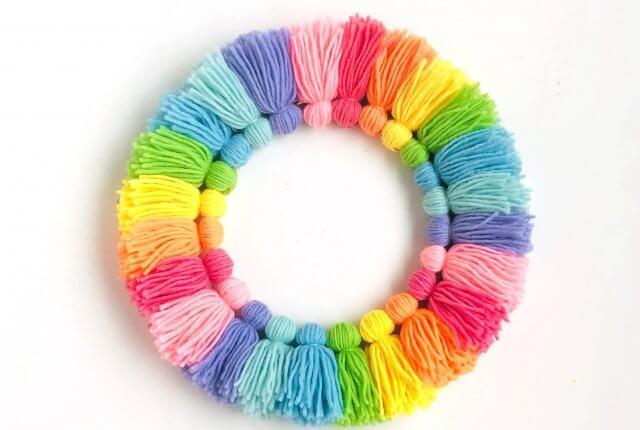 Rainbow DIY tassel wreath