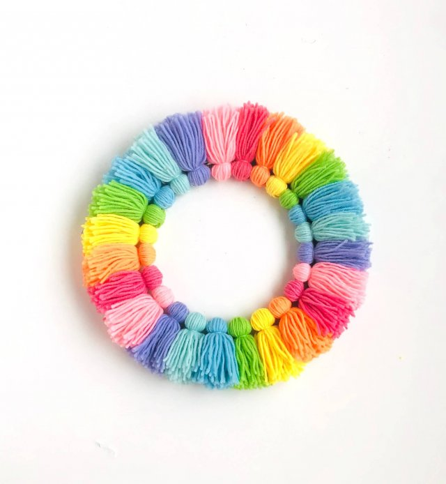 Rainbow DIY tassel wreath