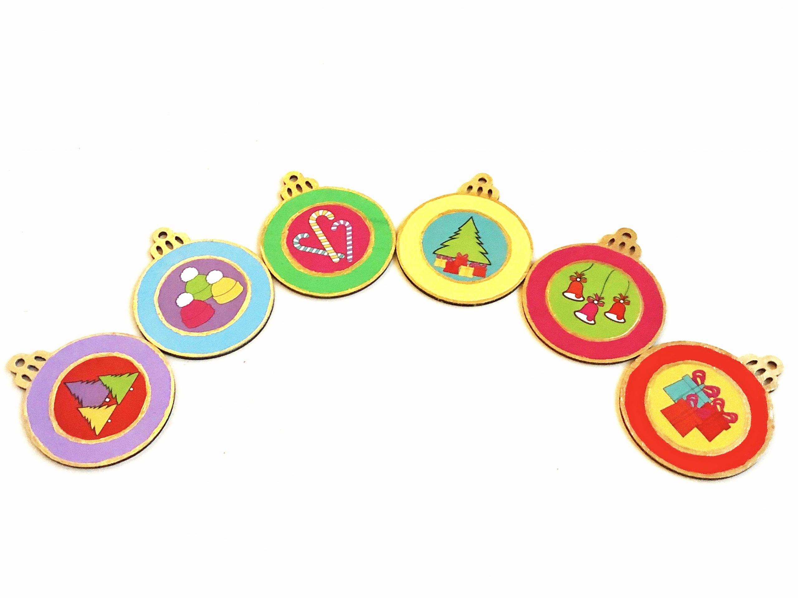 Colorful DIY decoupage ornaments