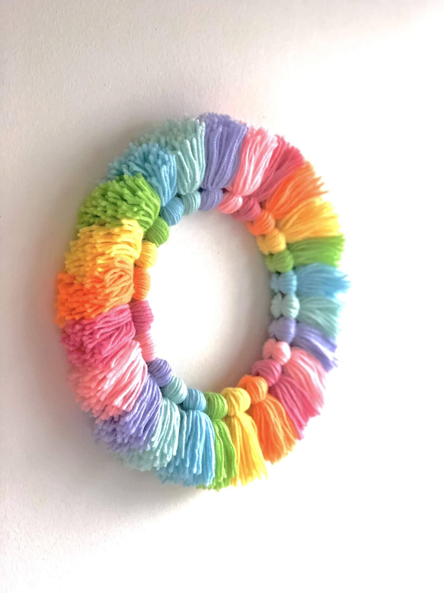 Tassel wreath on the wall