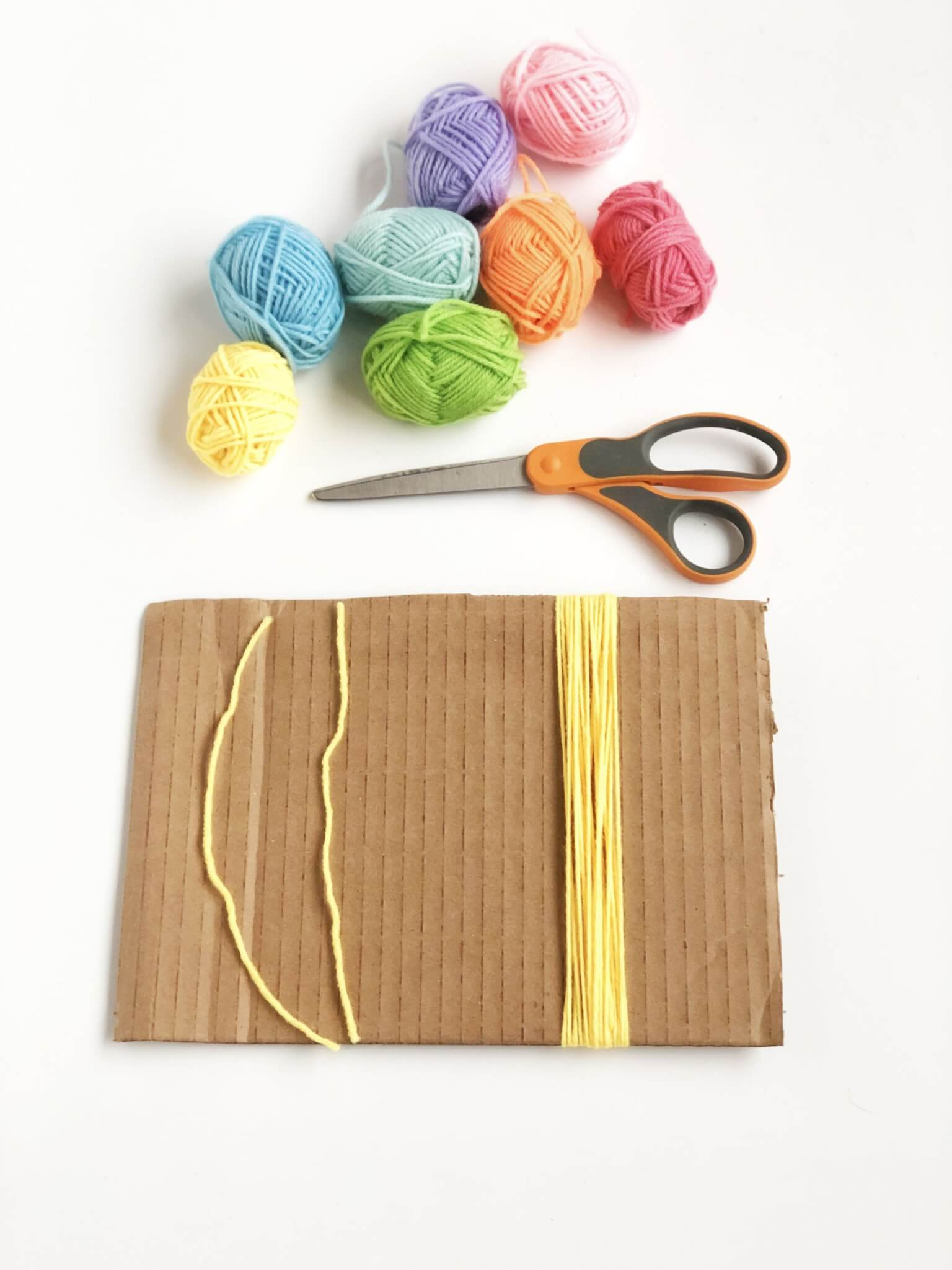 Yarn wrapped to make tassel