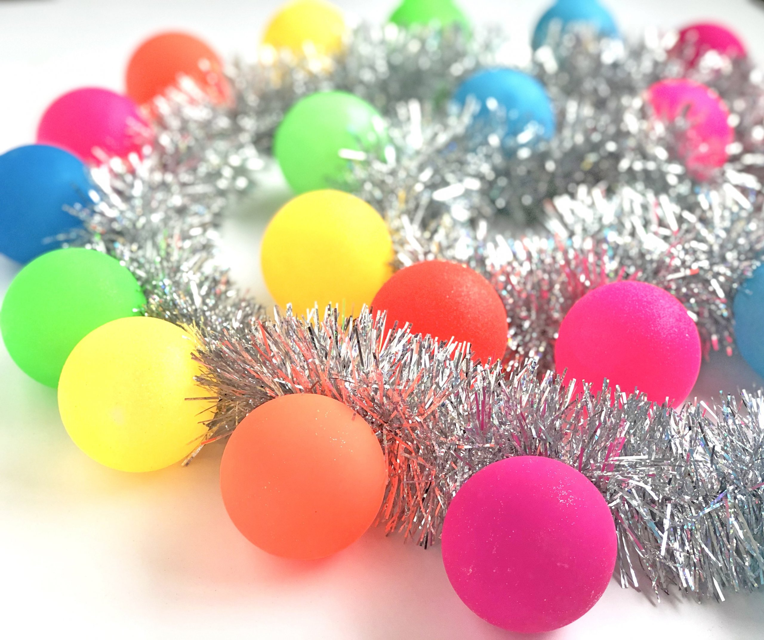DIY tinsel ornament garland in rainbow colors