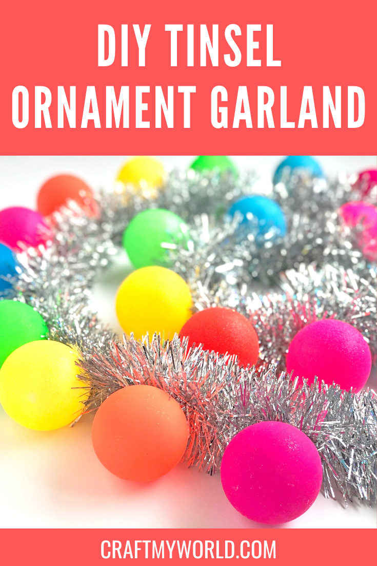 Colorful Tinsel ornament garland
