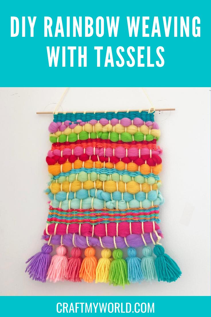 DIY Rainbow weaving with tassels
