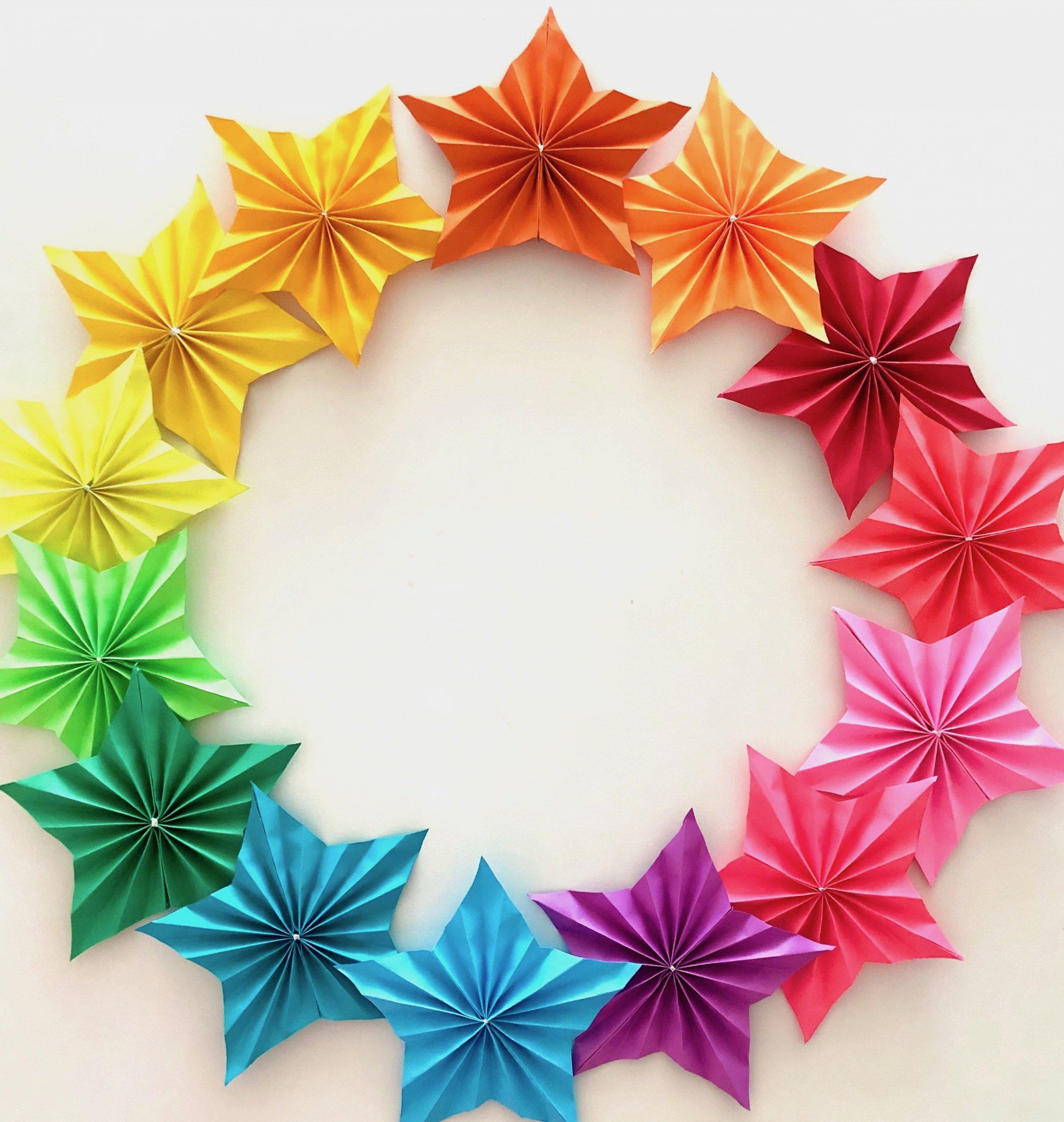 DIY Rainbow Star paper fan