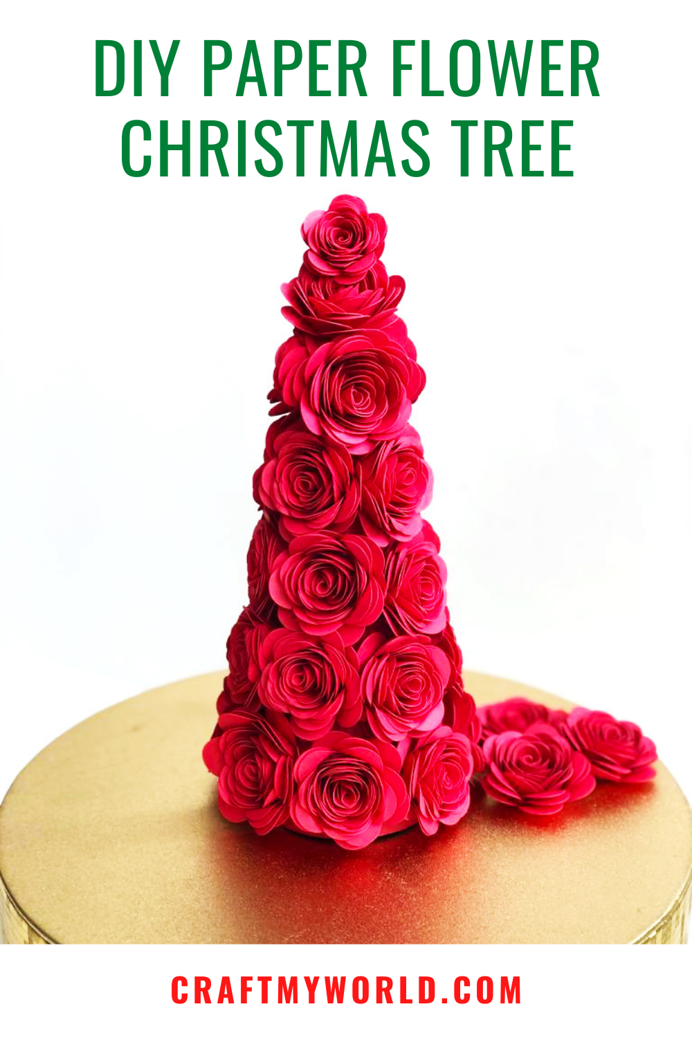 DIY paper flower Christmas tree cone