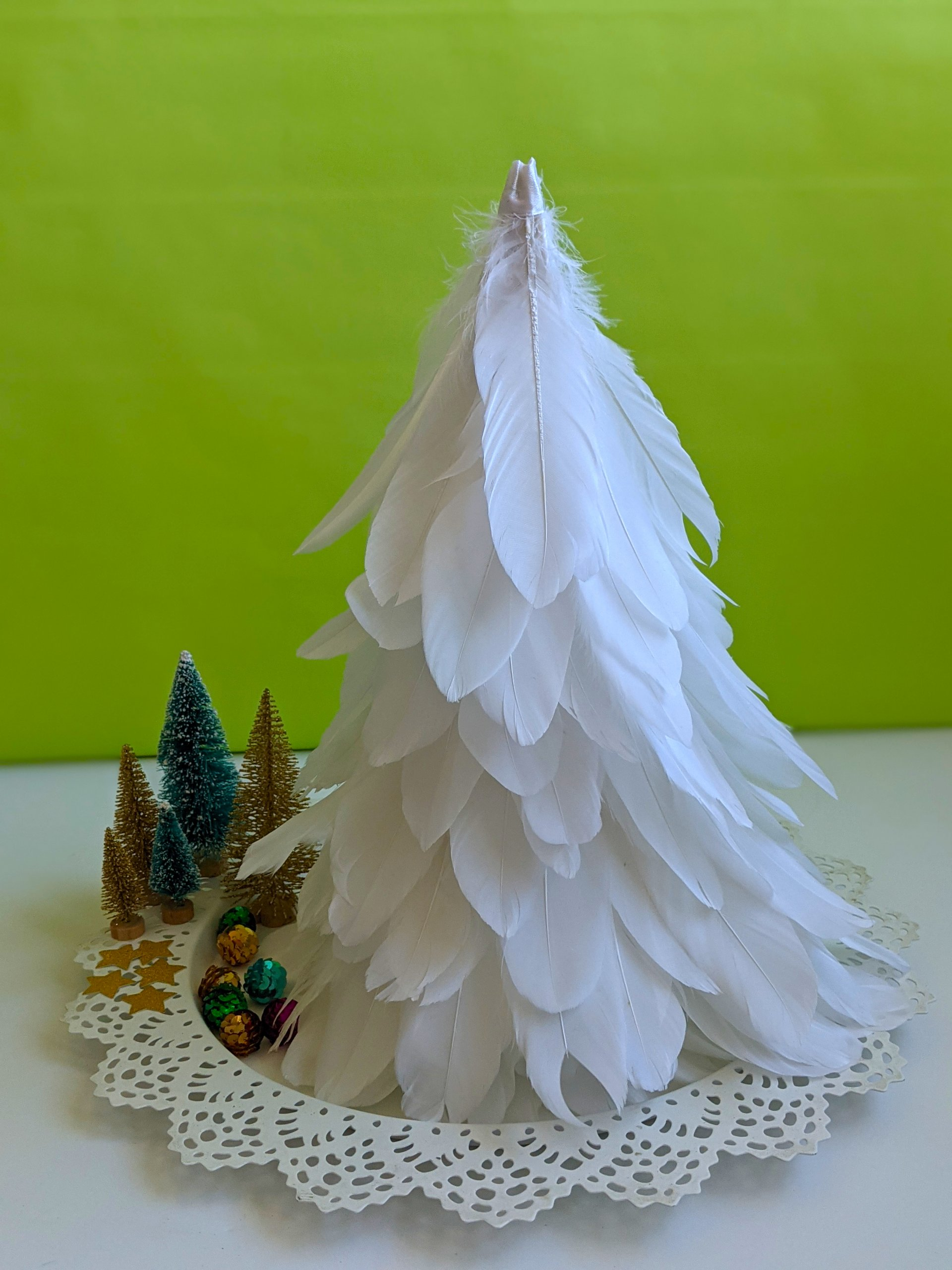 DIY Feather Christmas tree cone