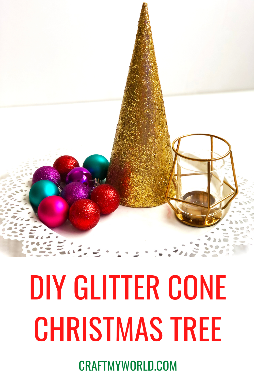 DIY Glitter Cone Christmas Trees description