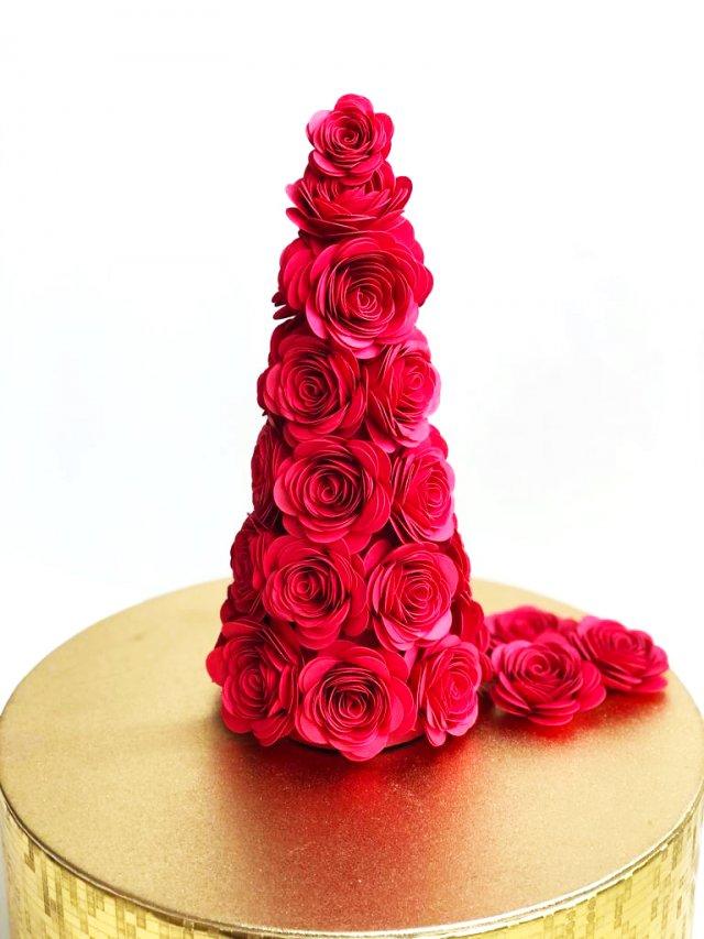 DIY floral Christmas tree cone