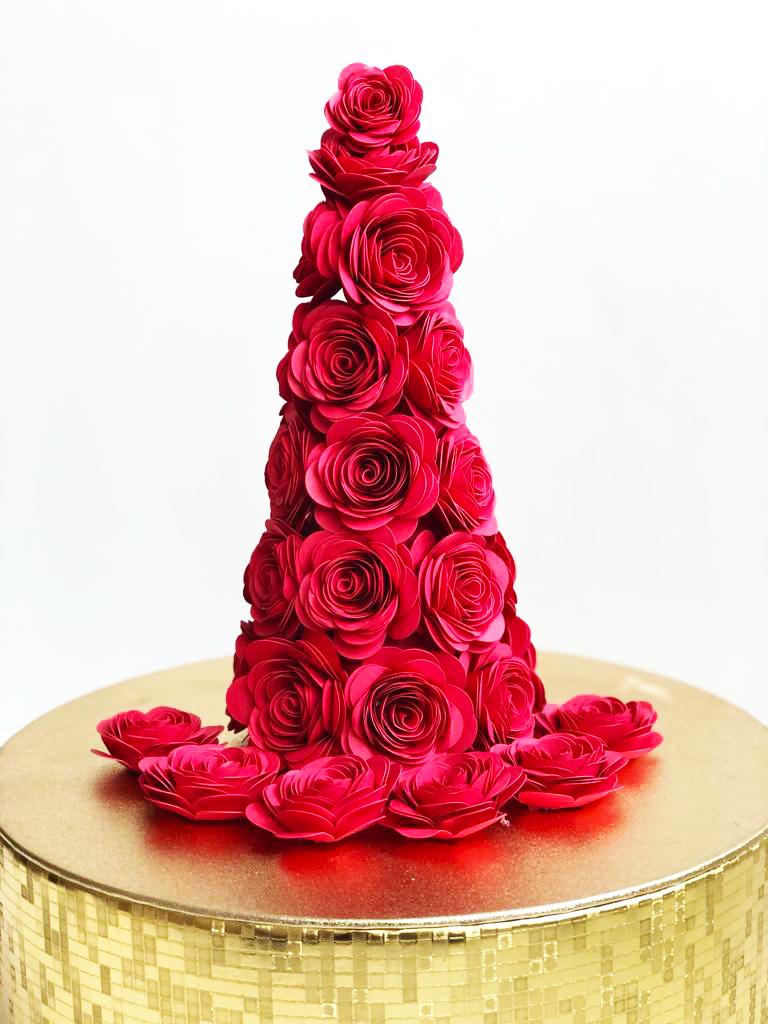 DIY paper flower Christmas tree cone