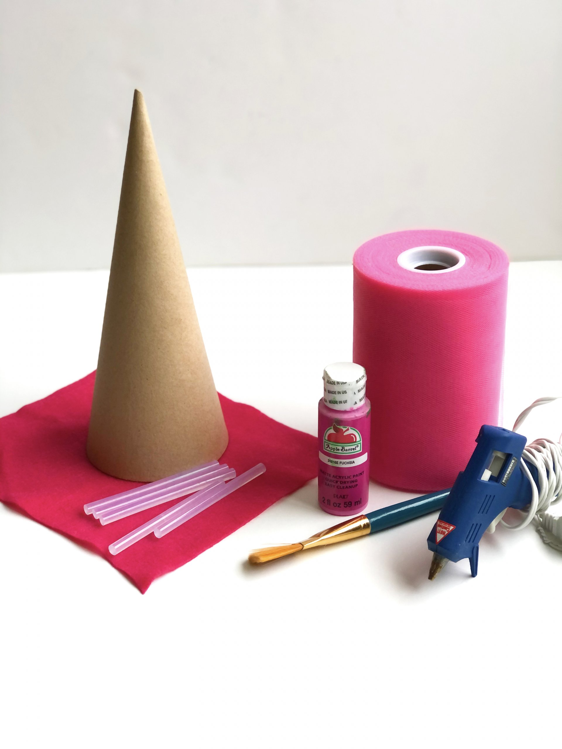 DIY Tulle Christmas tree cone material list
