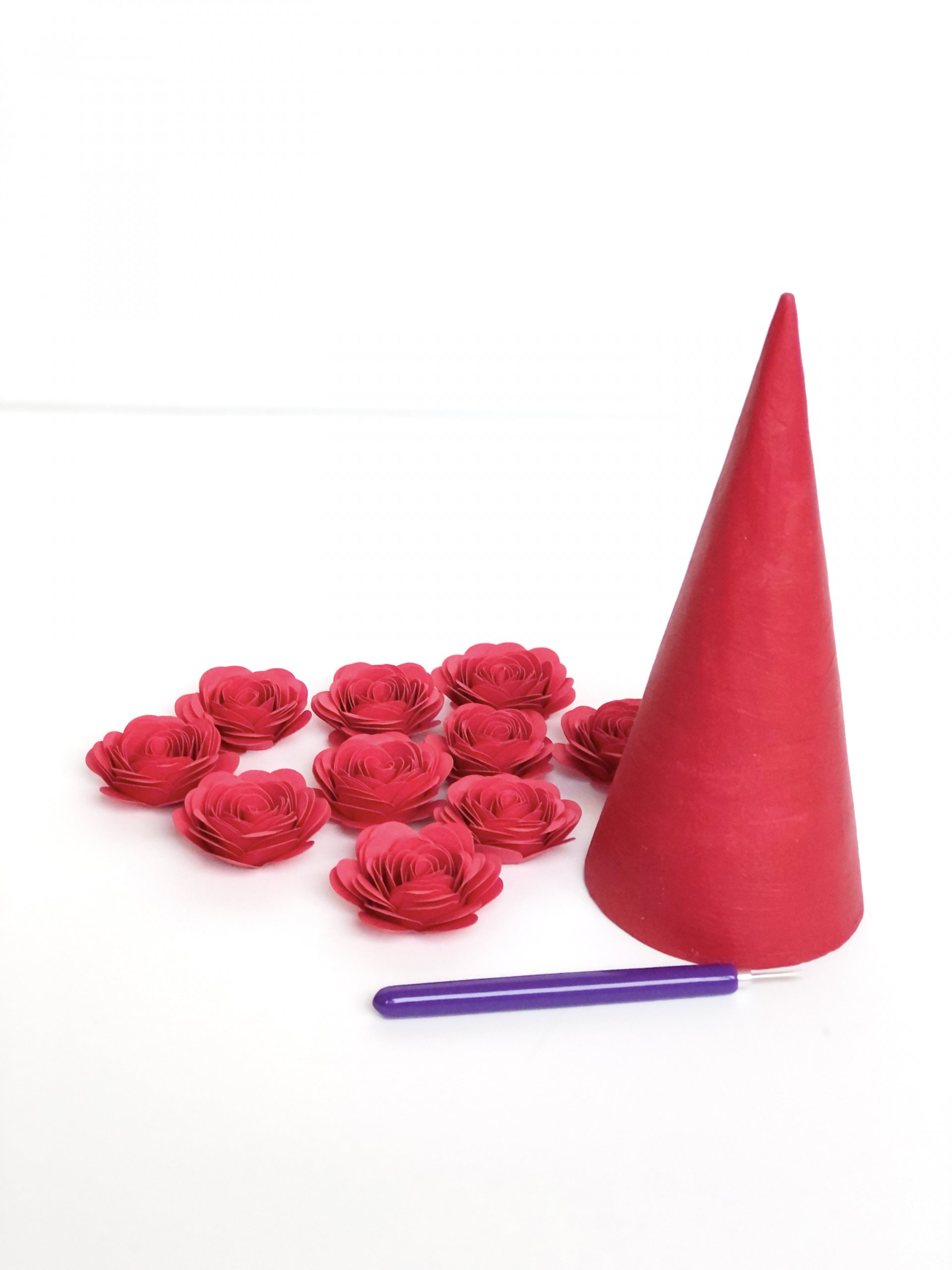 DIY floral Christmas tree cone painted
